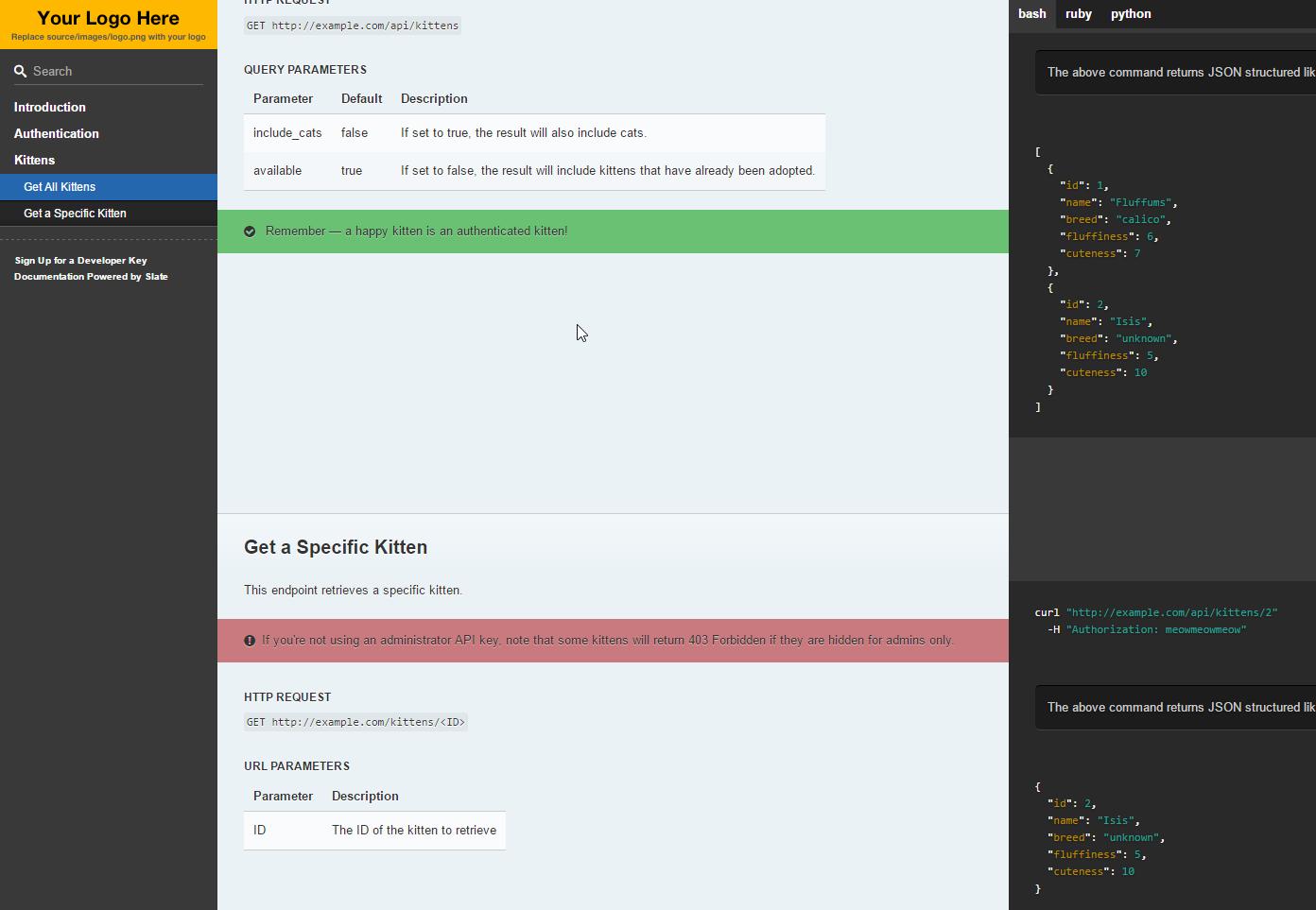 Slate docs with node js